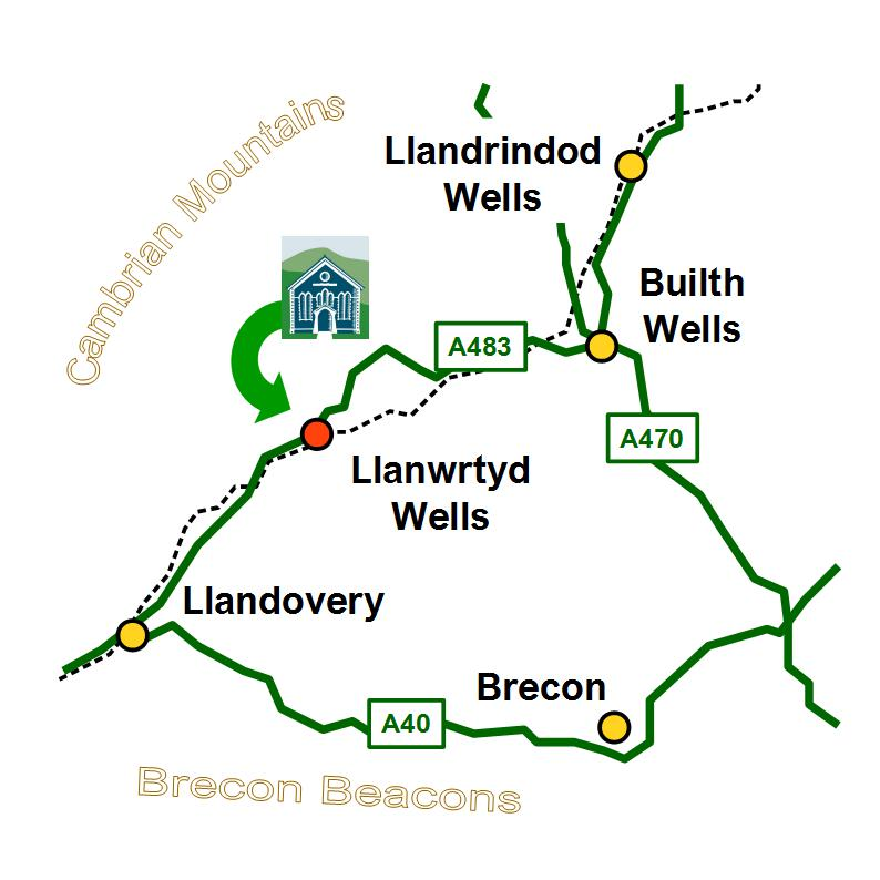 Map of how to find Llanwrtyd Wells visitor centre